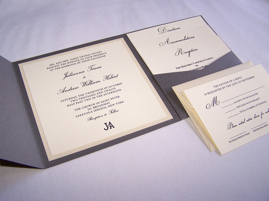 Canfield Square Pocketfold Wedding Invitation